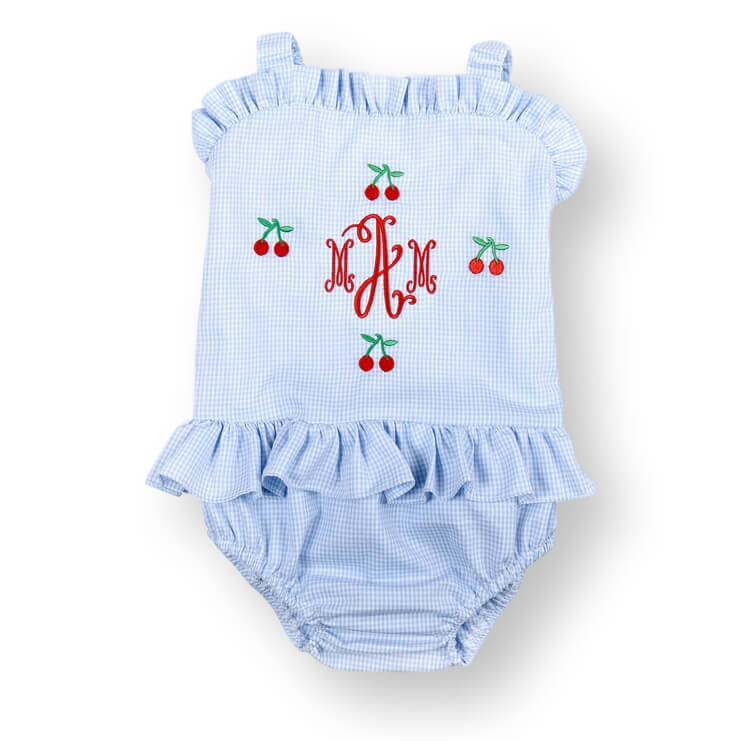 Blue Gingham Embroidered Cherry Swimsuit