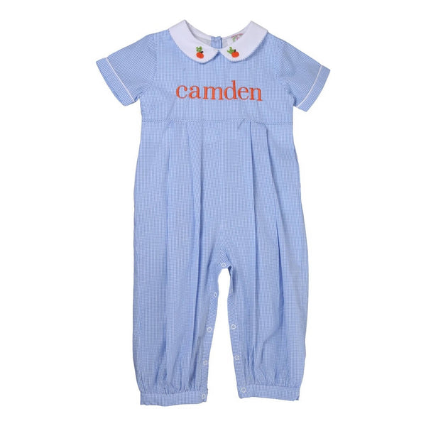 Blue Gingham Embroidered Mini Pumpkin Long Romper