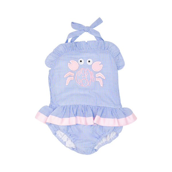 Blue Gingham Seersucker Applique Crab Swimsuit