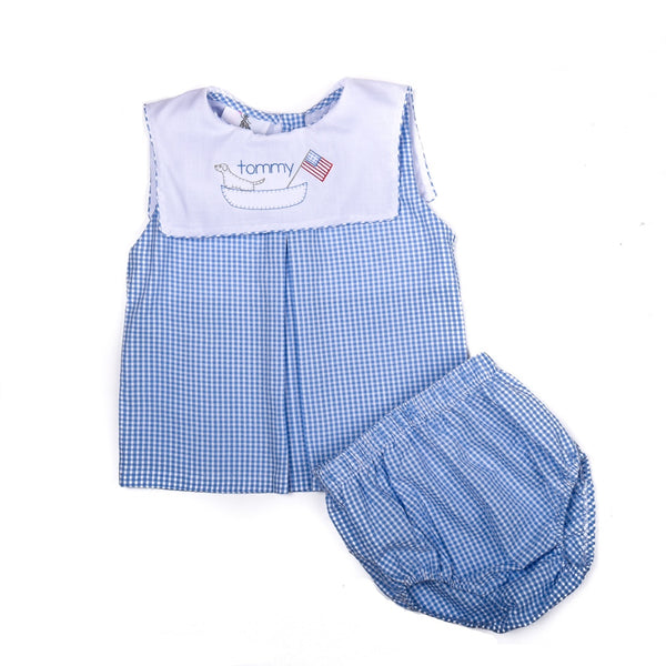 Blue Gingham Seersucker Diaper Set