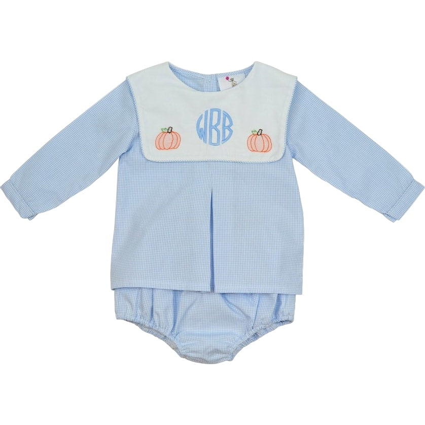 Blue Gingham Shadow Embroidered Pumpkin Diaper Set