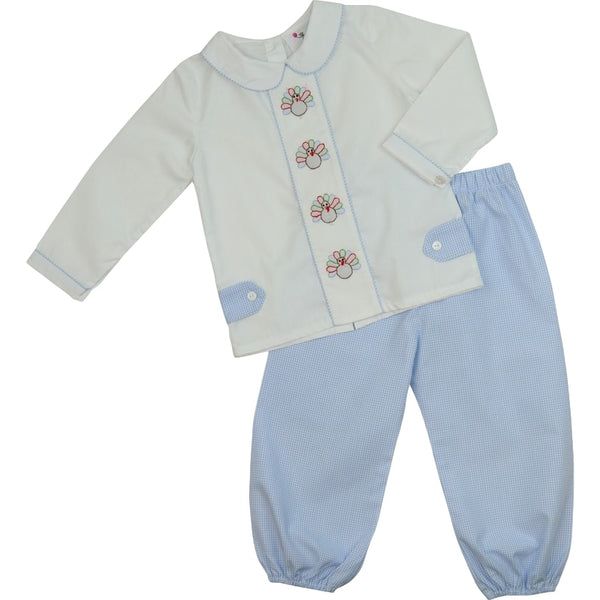 Blue Gingham Shadow Embroidered Turkey Pant Set