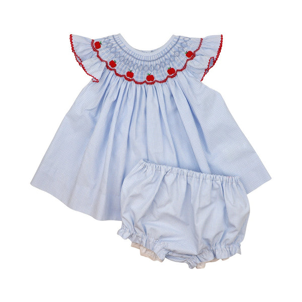 Blue Gingham Smocked Apple Diaper Set