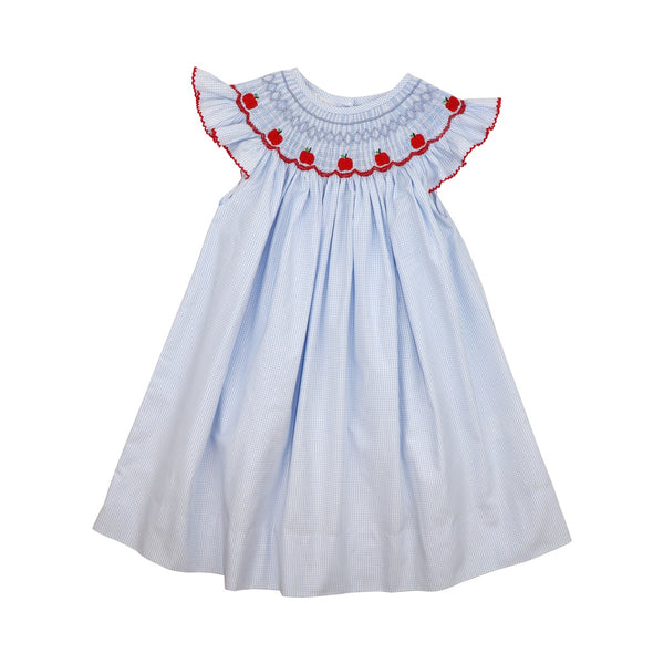 Blue Gingham Smocked Apple Dress