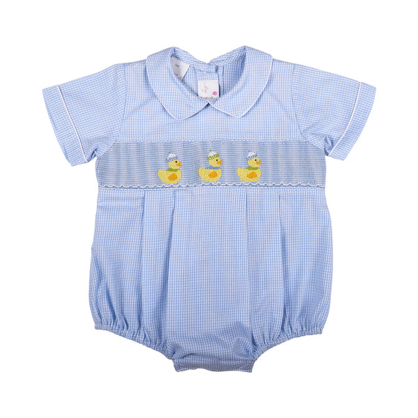 Blue Gingham Smocked Duck Boys Bubble
