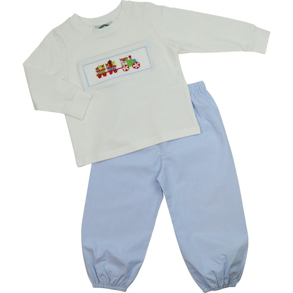 Blue Gingham Smocked Santa Train Pant Set