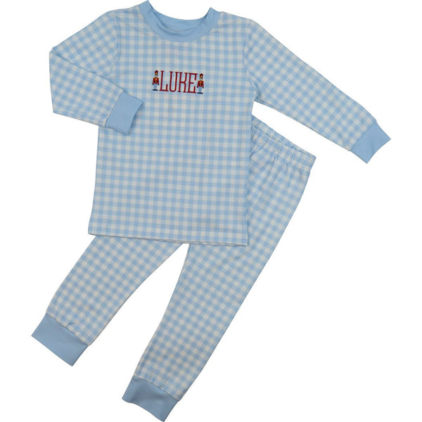 Blue Knit Check PJ Set