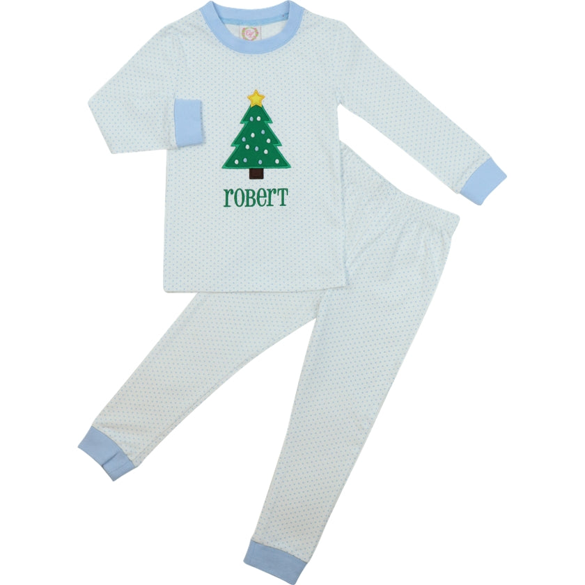 Blue Knit Dot Christmas Tree PJ Set