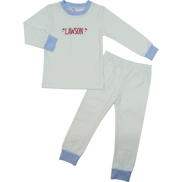 Blue Knit Dot PJ Set