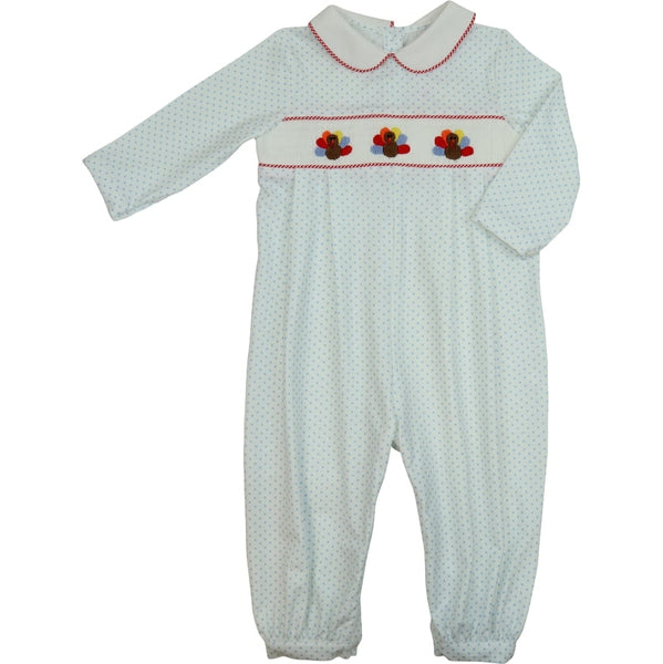 Blue Knit Dot Smocked Turkey Long Romper