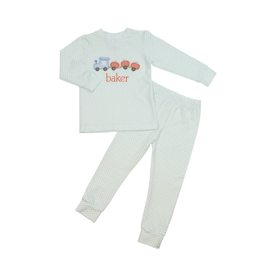 Blue Knit Dot Train Pumpkin PJ Set