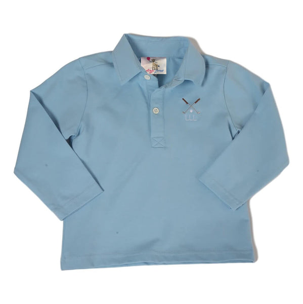 Blue Knit Embroidered Golf Polo