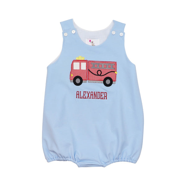 Blue Knit Firetruck Bubble