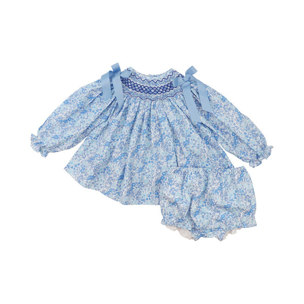 Blue Liberty Smocked Diaper Set
