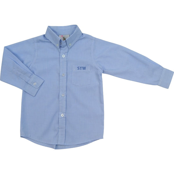 Blue Micro Gingham Button Down Shirt