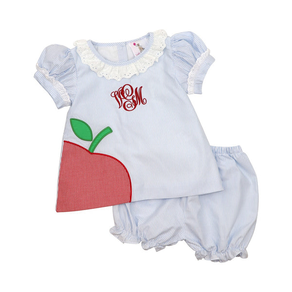 Blue Mini Stripe Apple Bloomer Set
