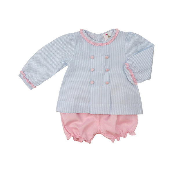 Blue Mini Stripe Bloomer Set