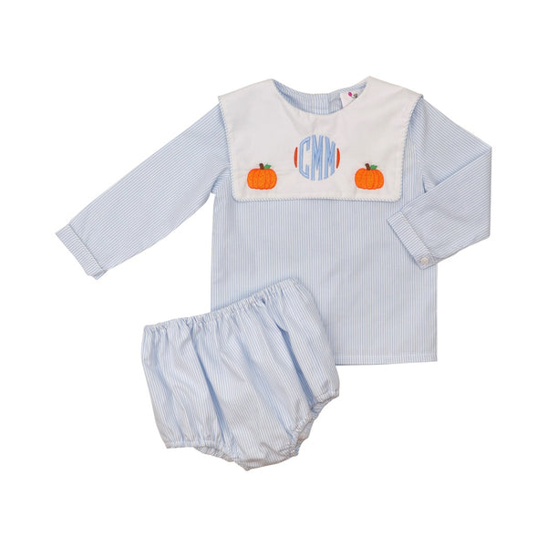 Blue Mini Stripe Boys Pumpkin Diaper Set