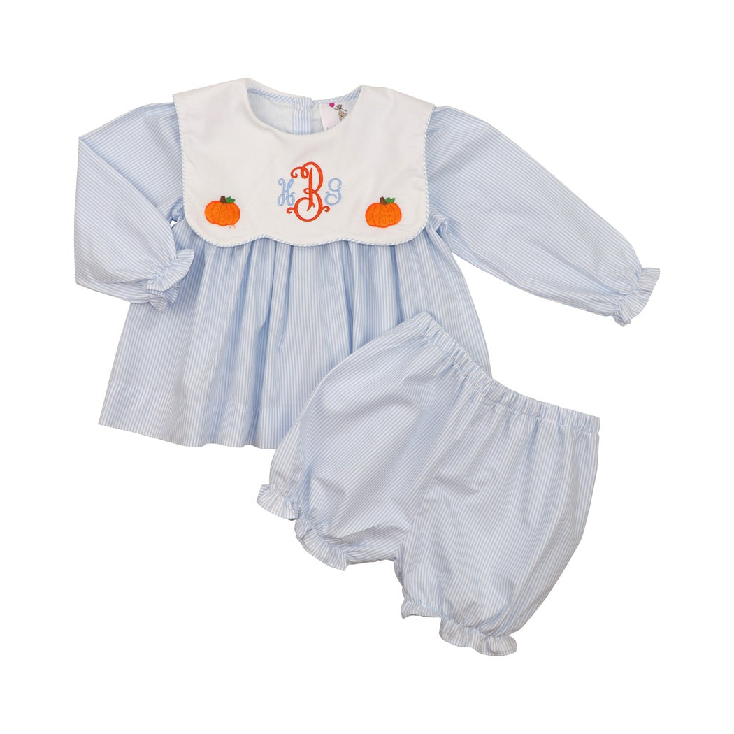 Blue Mini Stripe Pumpkin Bloomer Set