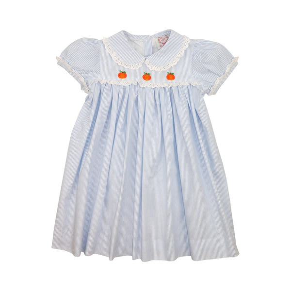Blue Mini Stripe Embroidered Pumpkin Dress