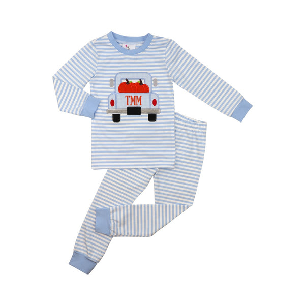 Blue Mini Stripe Pumpkin Truck Pajamas