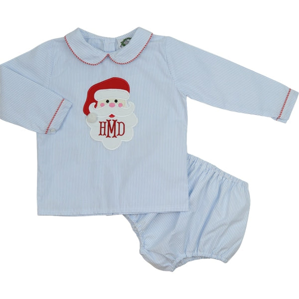 Blue Mini Stripe Santa Diaper Set