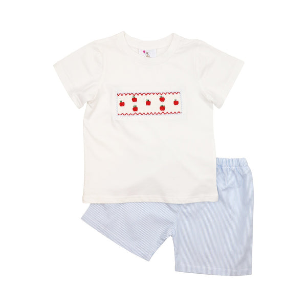 Blue Mini Stripe Smocked Apple Short Set