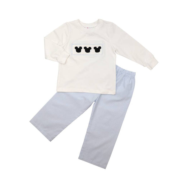 Blue Mini Stripe Smoked Mouse Ear Pant Set