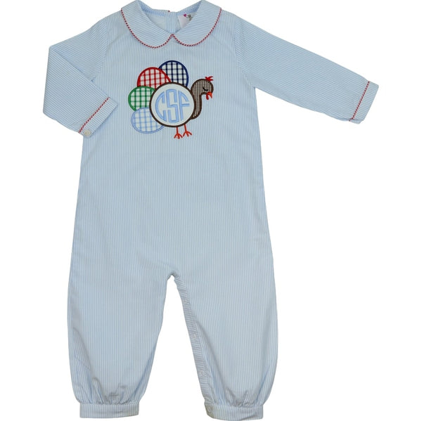 Blue Mini Stripe Turkey Long Romper