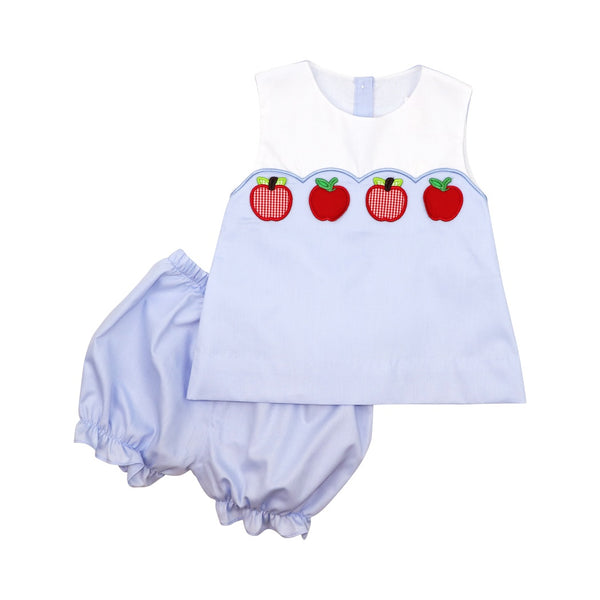 Blue Pique Apple Bloomer Set
