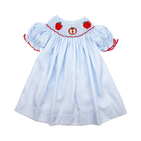 Blue Pique Dot Smocked Apple Bishop Dress