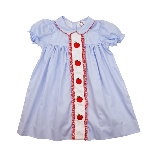 Blue Pique Ruffle Apple Dress