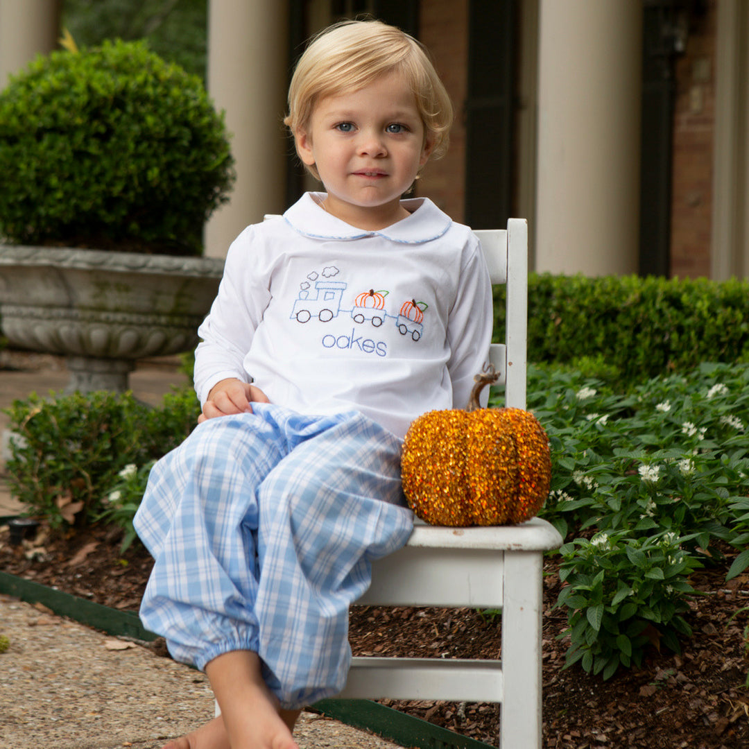 Blue Plaid Pumpkin Train Pant Set