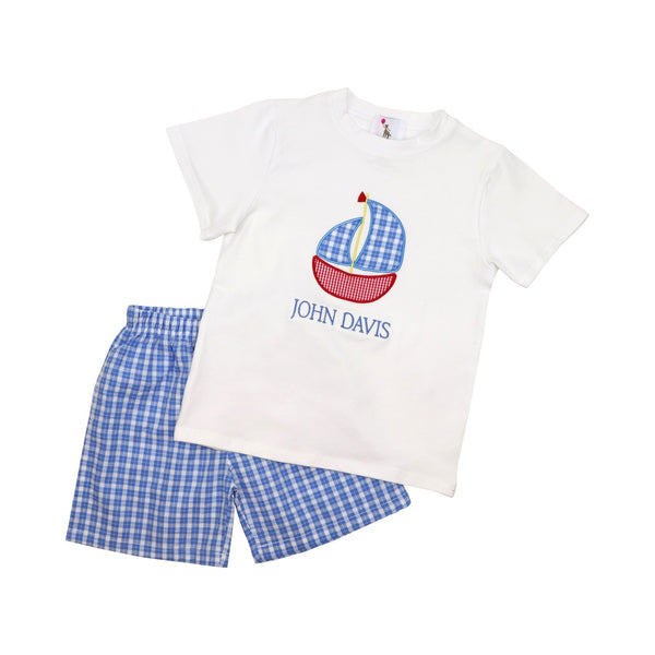 Blue Seersucker Plaid Applique Boat Short Set
