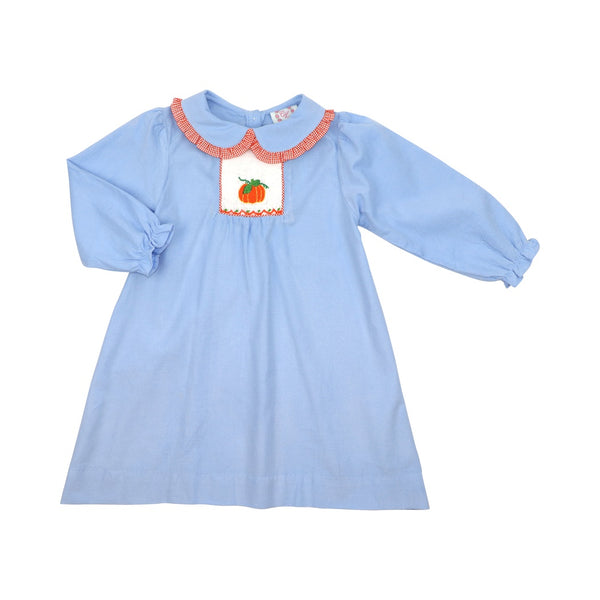 Blue Corduroy Smocked Pumpkin Dress