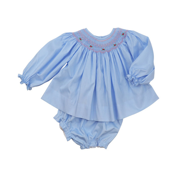 Blue Smocked Rosette Diaper Set