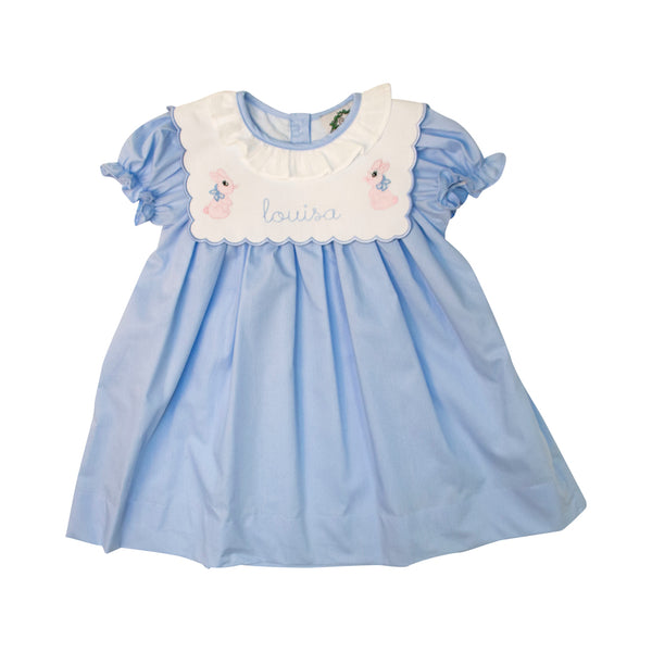 Blue Square Collar Dress with Embroidered Bunnies