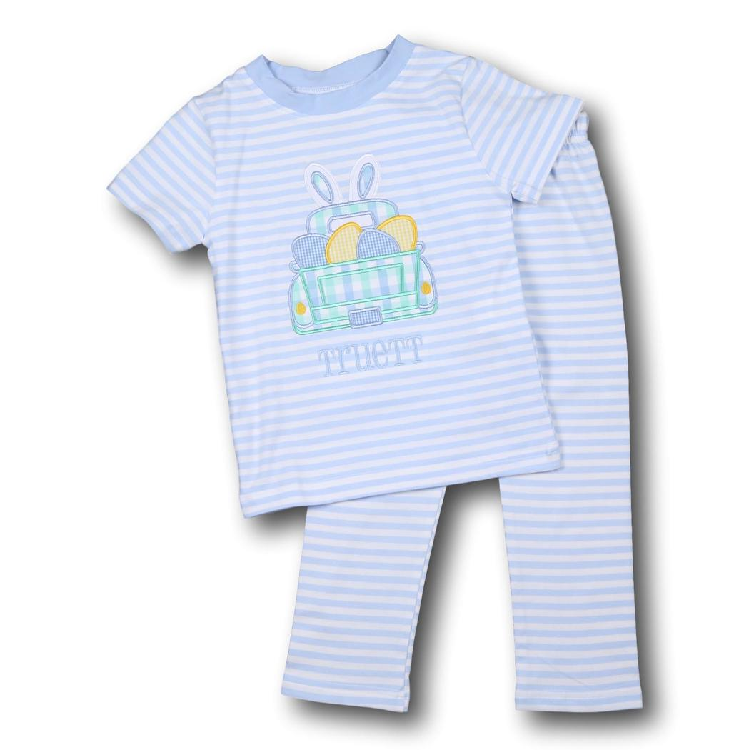 Blue Stripe Applique Truck and Eggs PJ Set