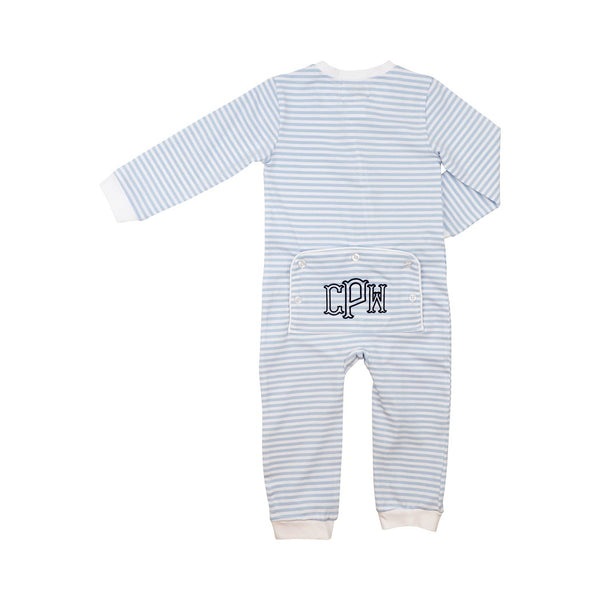 Blue Stripe Knit Zipper Pajamas