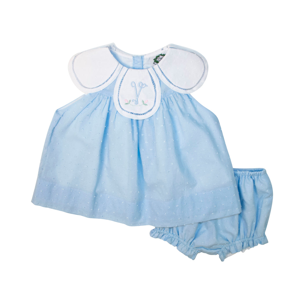 Blue Swiss Dot Eliza Diaper Set