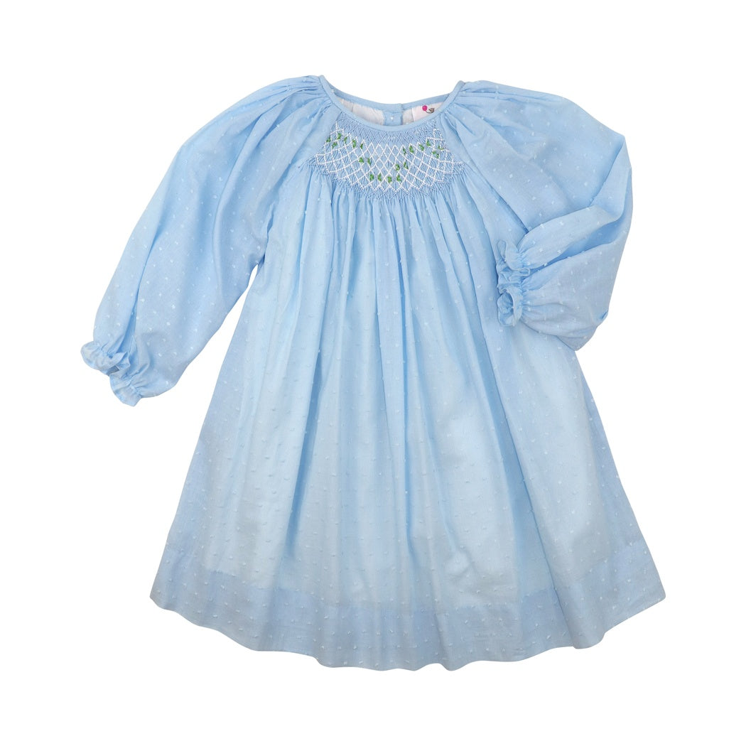 Blue Swiss Dot Smocked Dress