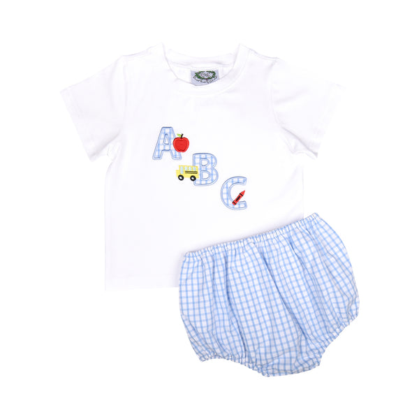 Blue Windowpane Applique ABC Diaper Set