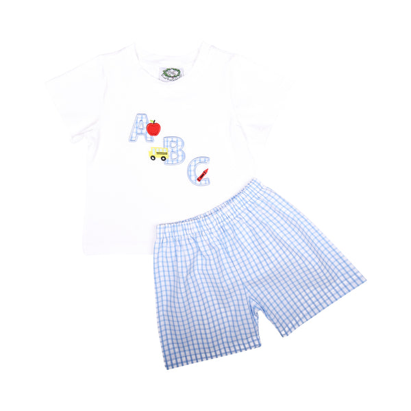 Blue Windowpane Applique ABC Short Set