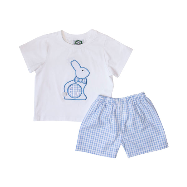 Blue Windowpane Applique Bunny Short Set