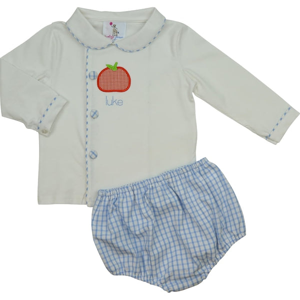Blue Windowpane Applique Pumpkin Diaper Set