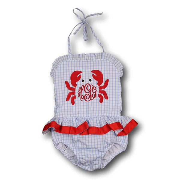 Blue Windowpane Crab Swimsuit with Red Ribbon Trim