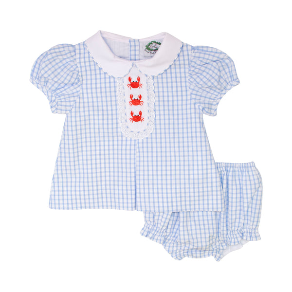 Blue Windowpane Embroidered Crab Diaper Set