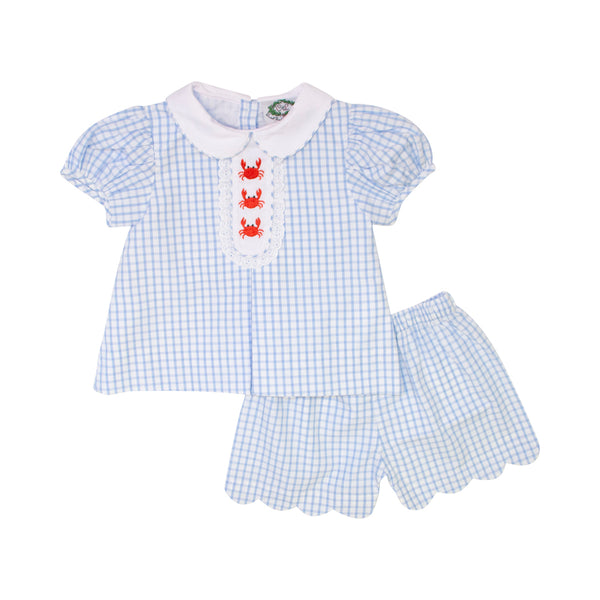 Blue Windowpane Embroidered Crab Short Set