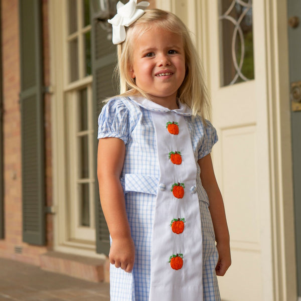 Blue Windowpane Embroidered Pumpkin Tab Dress