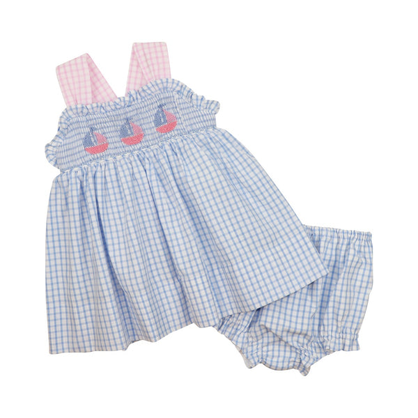 Blue Windowpane Embroidered Sailboat Diaper Set